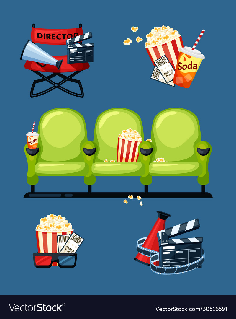 Cinema symbols movie and theatre entertainment