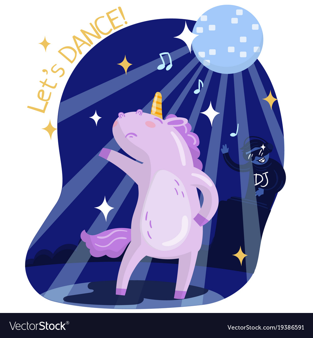 Cute funny unicorn dancing music party lets vector image