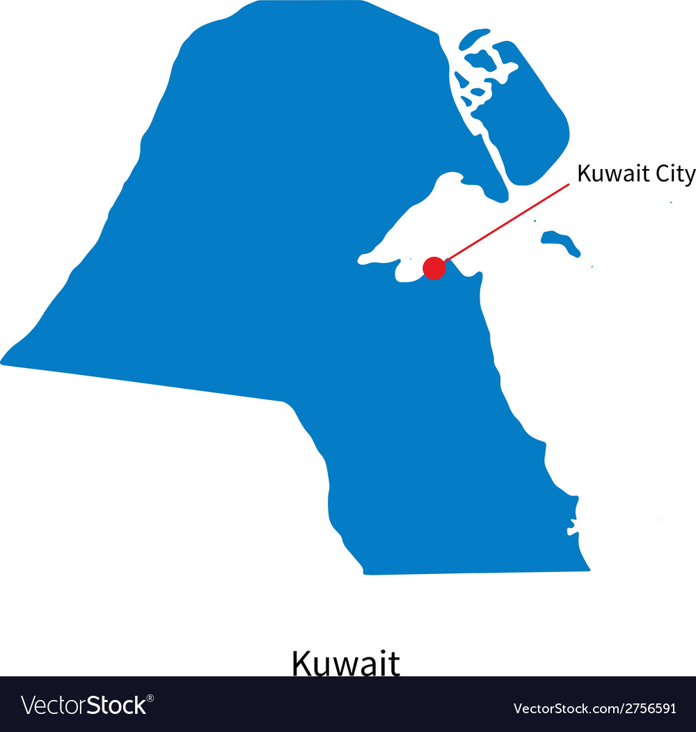 Detailed map of Kuwait and capital city Kuwait