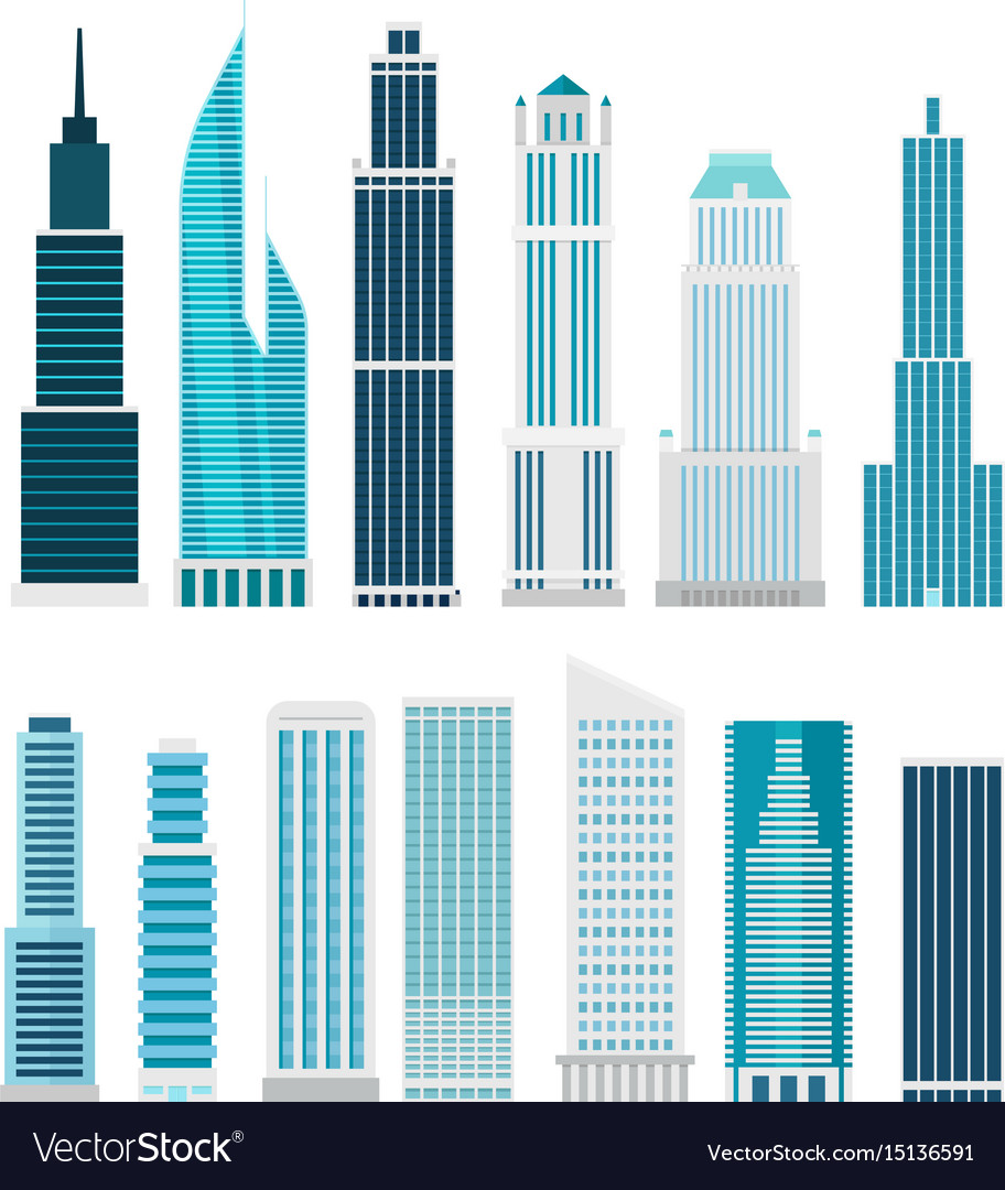 different skyscrapers isolated on white clip art vector image rh vectorstock com Skyscraper Graph skyscraper buildings clipart