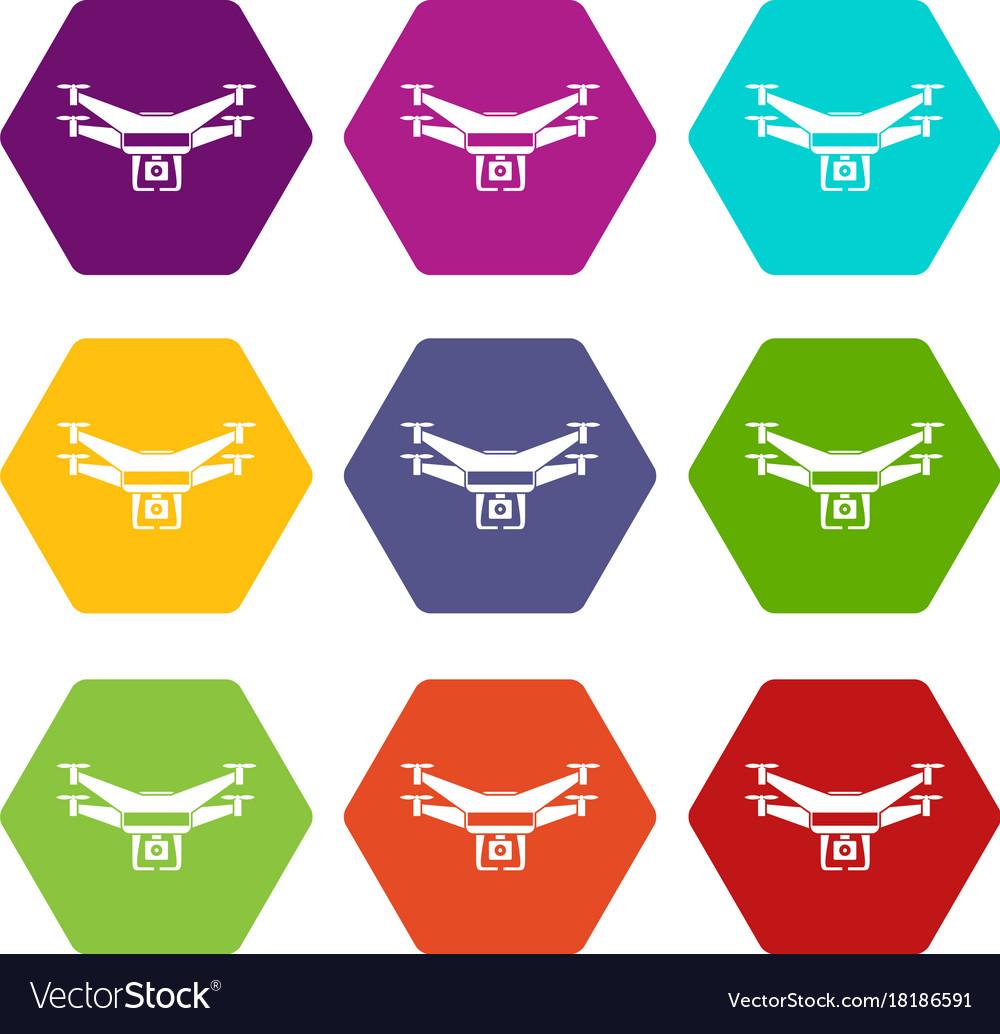 Drone Video Camera Icon Set Color Hexahedron Vector Image On VectorStock