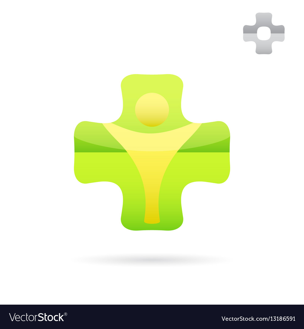 Green medical cross logo with human body shape vector image