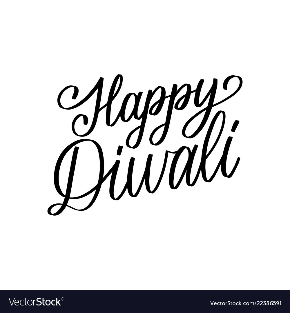 Happy Diwali Hand Lettering On White Background