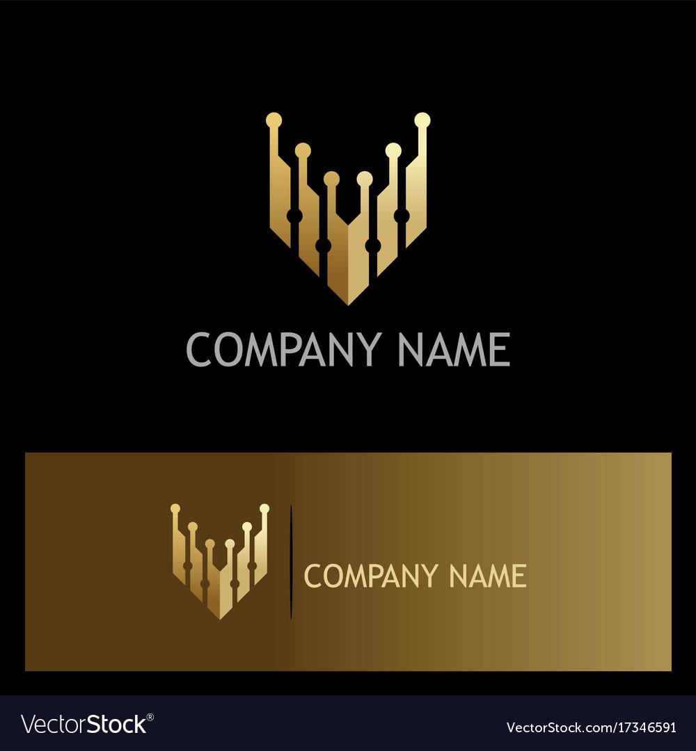 Letter v technology gold logo