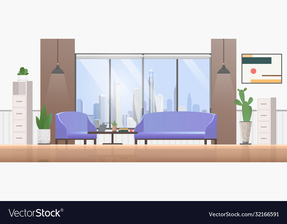 Living room interior flat design