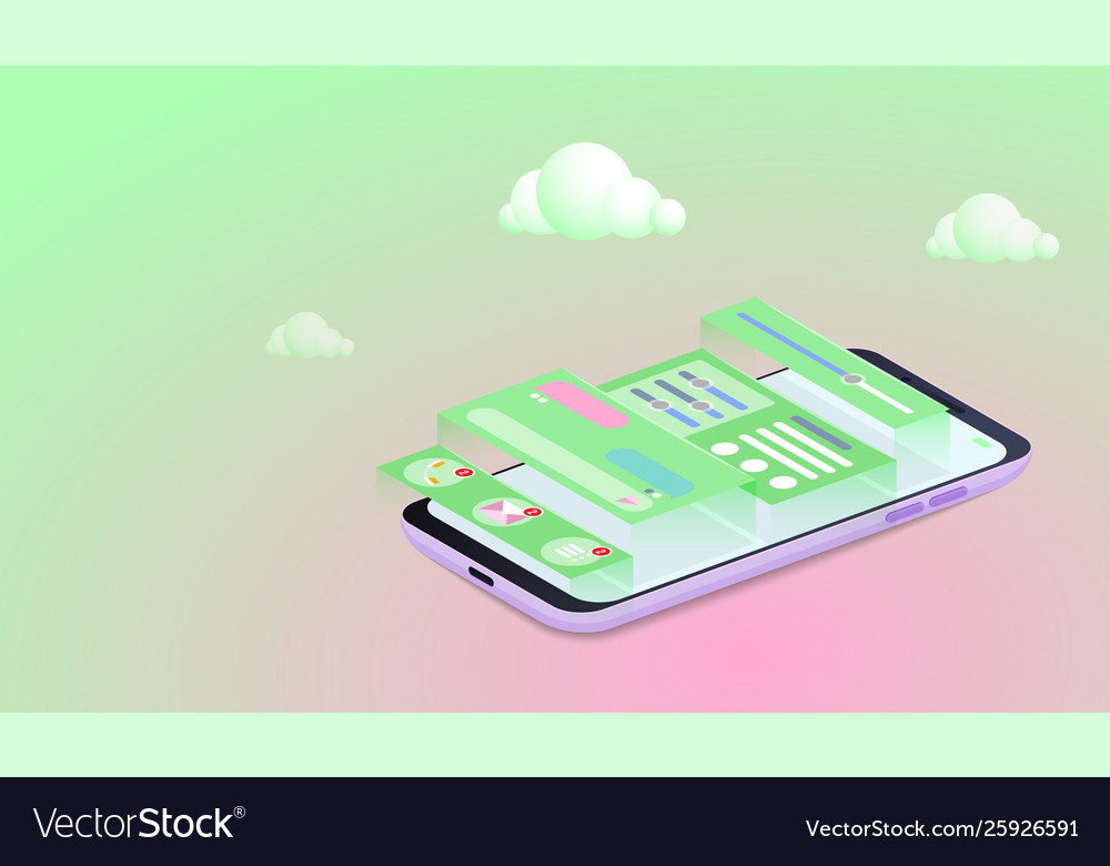 Mobile application development concept smartphone