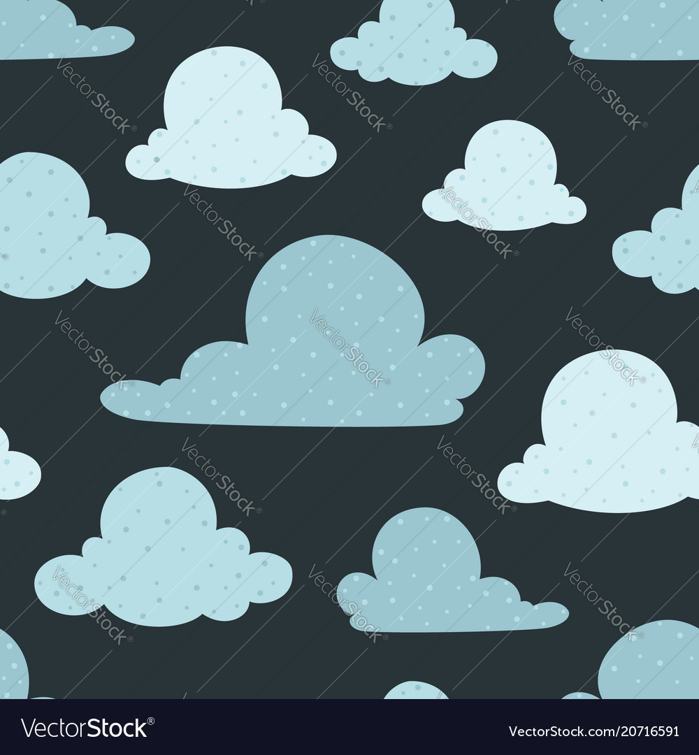 Navy bue clouds seamless pattern background