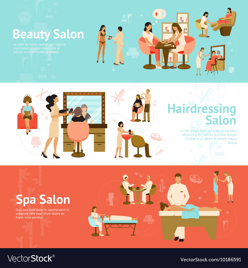 People In Beauty And Spa Salon Horizontal Banners