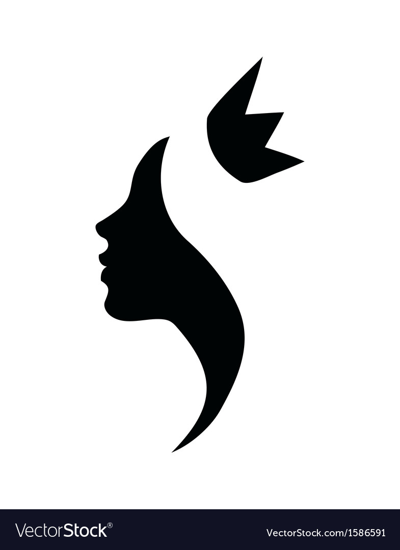 princess profile black silhouette royalty free vector image