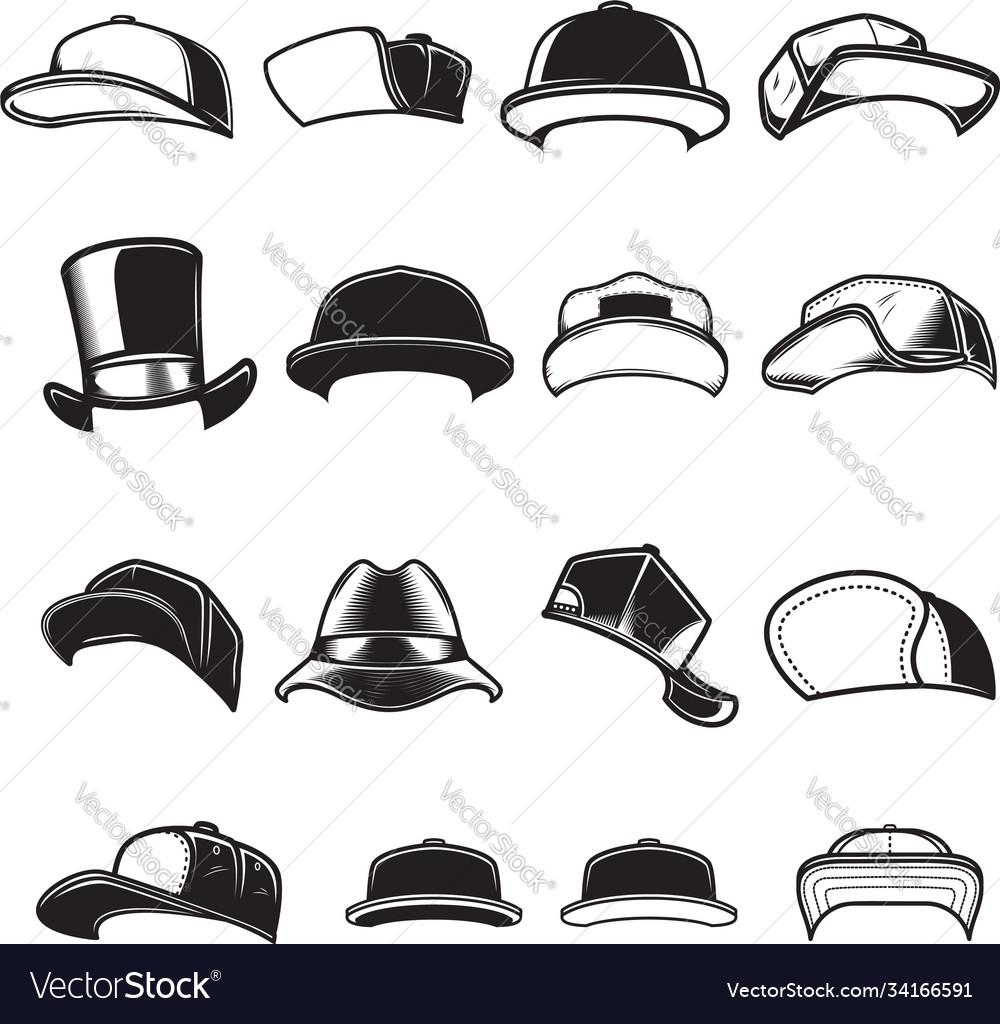 Set baseball caps design element for logo