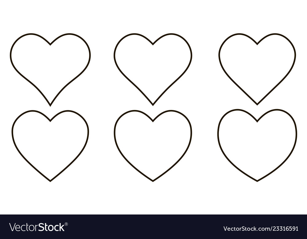 Set contour heart icon set heart shape
