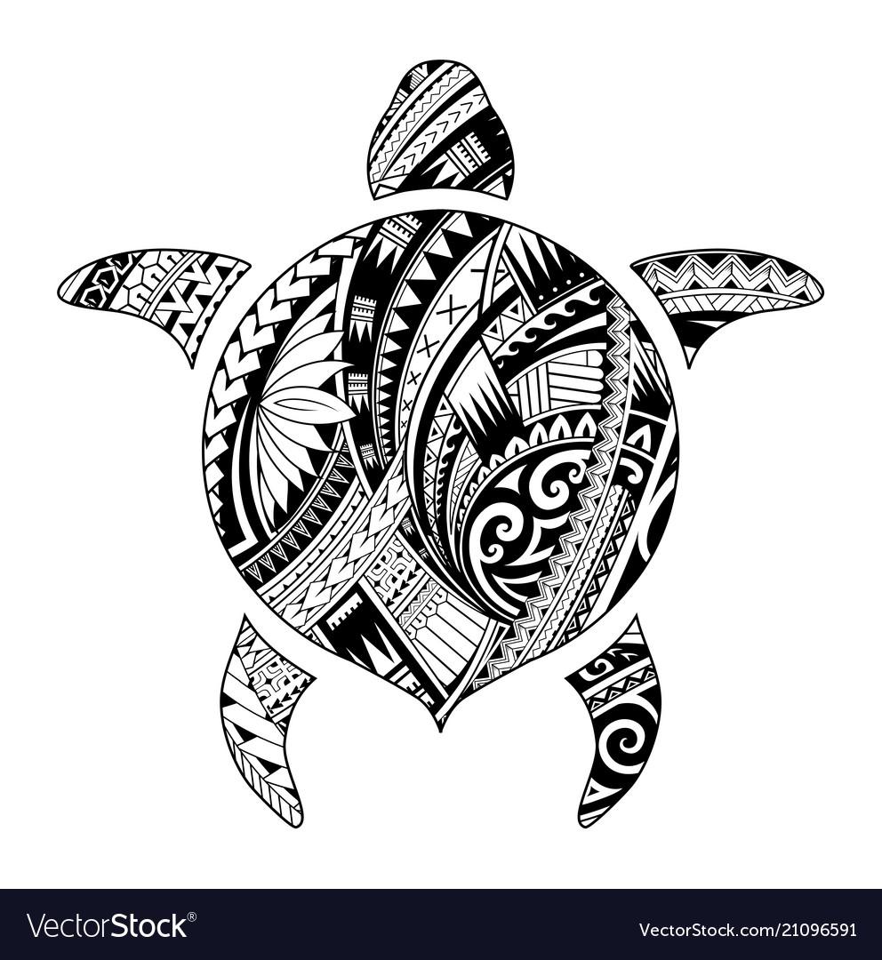 Tribal Tattoo For Aboriginal Turtle Shape Vector Image