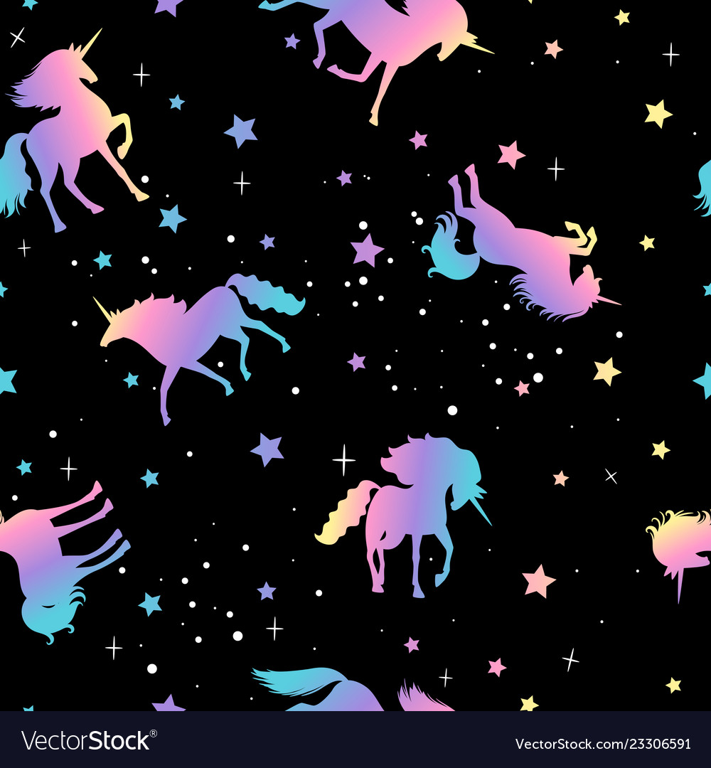 Unicorn and star silhouettes pattern