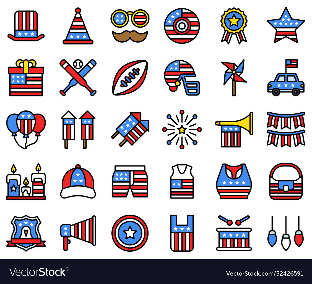 United state independence day filled icon set 2