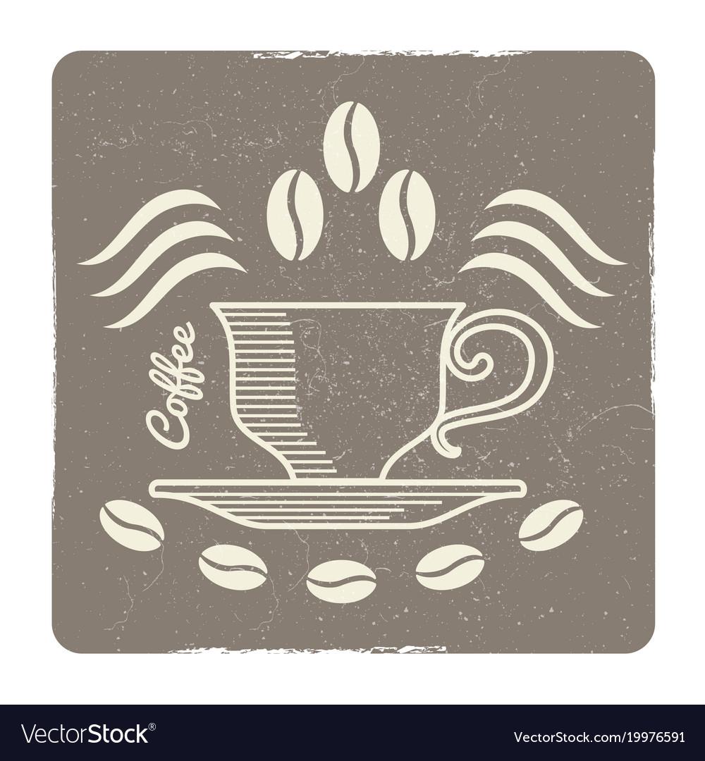Vintage coffee cup logo design - label for