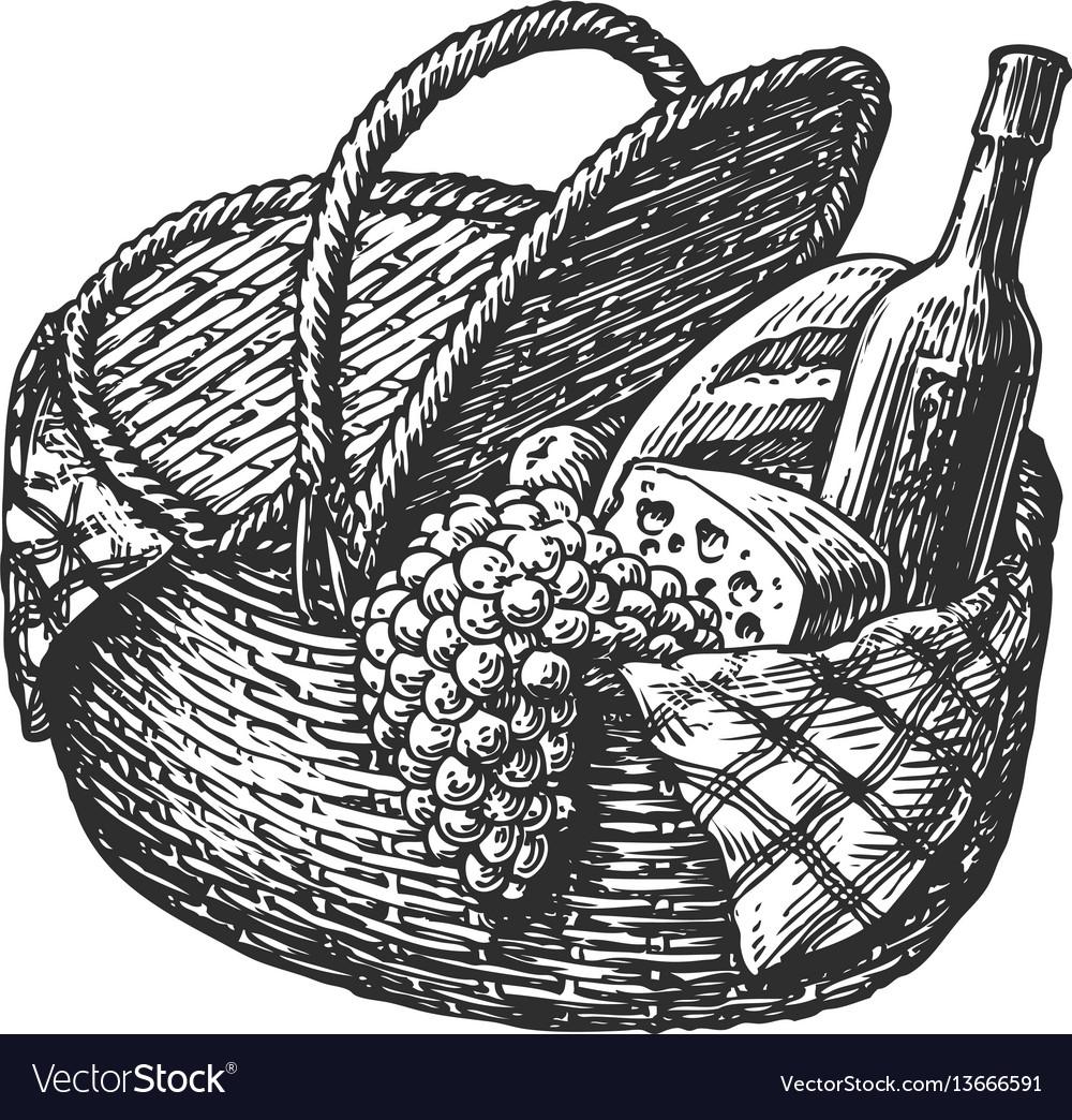 Vintage Wicker Picnic Hamper Or Basket With Food Vector Image