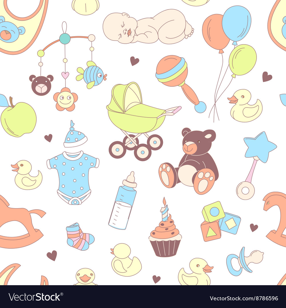 Baby shower seamless pattern Texture for baby girl