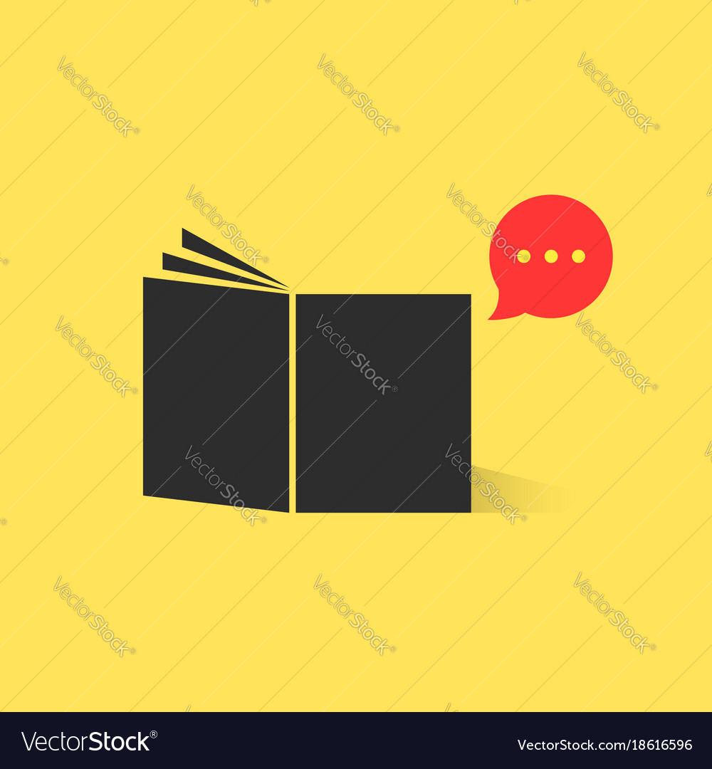 Black book with red speech bubble