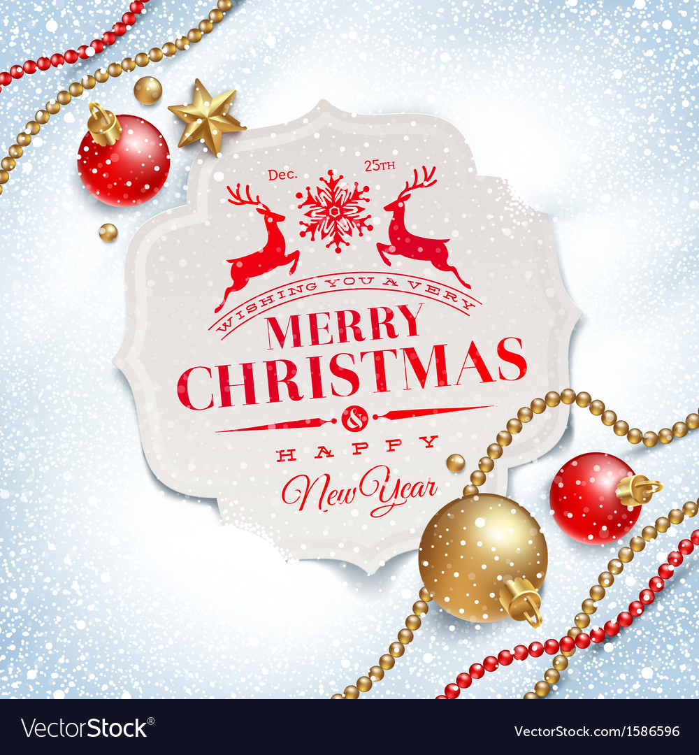Christmas greeting card and decor on a snow vector image