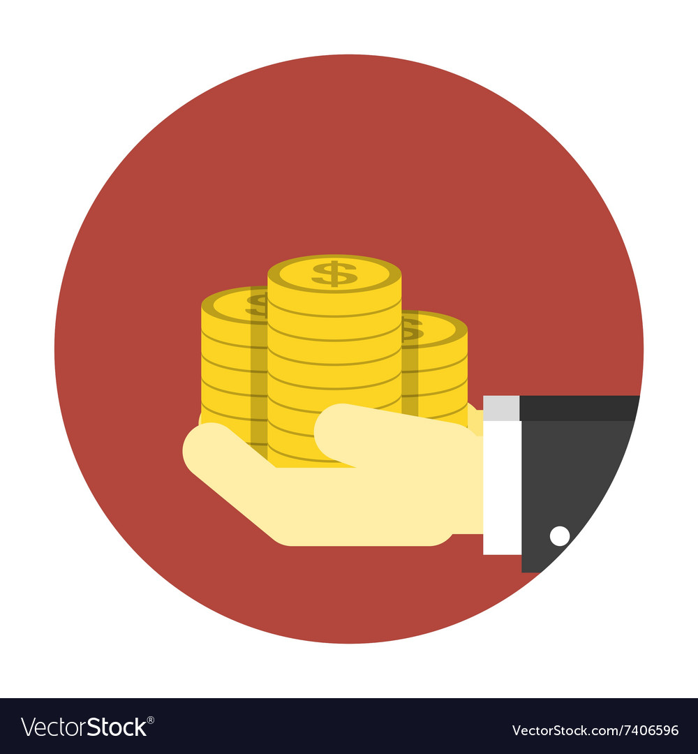 Coins on hands icon vector image