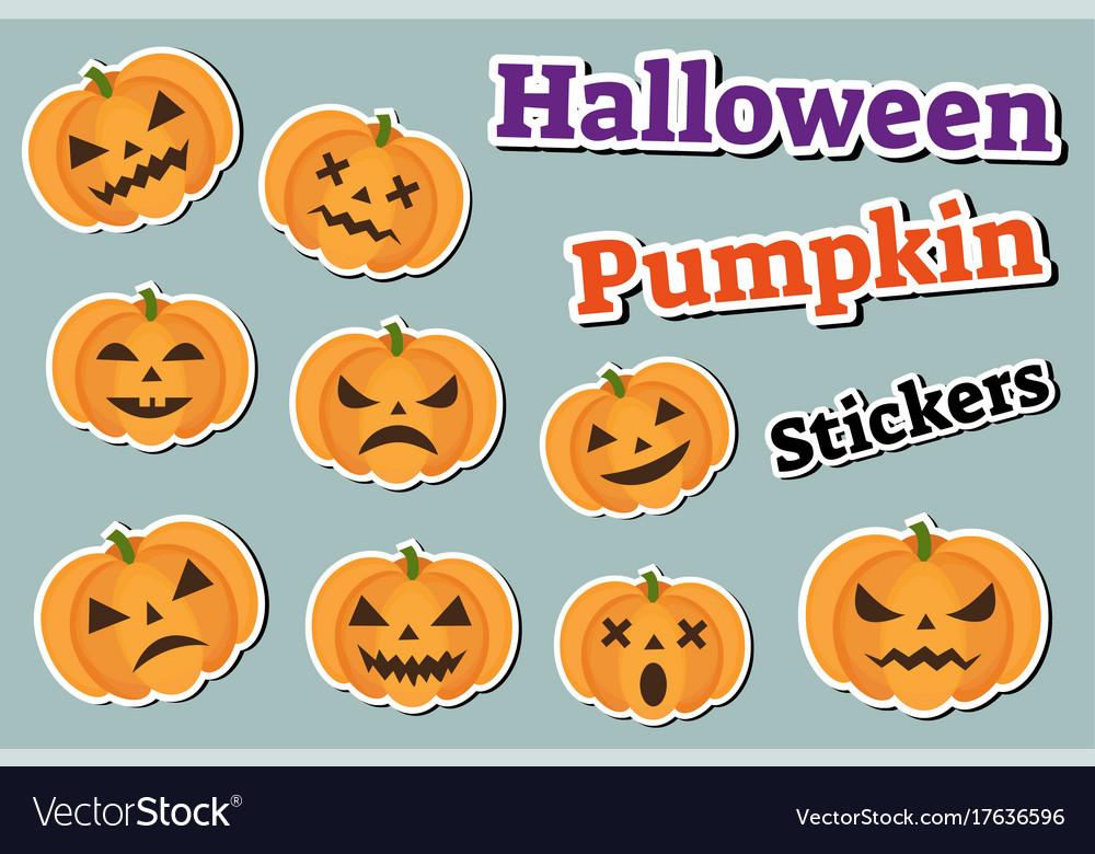 Halloween pumpkin set of stickers emoji patches