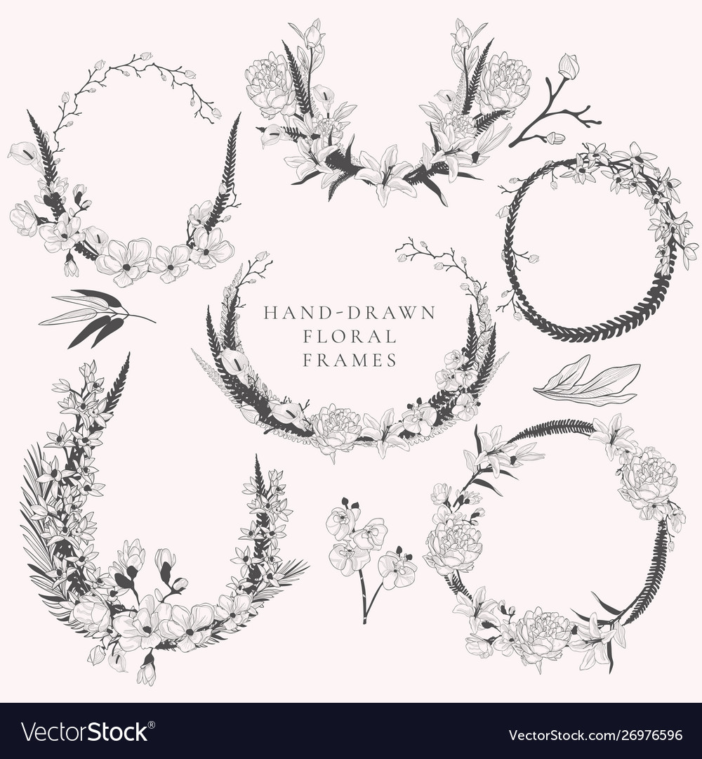 Hand drawn wreaths with florals and plants