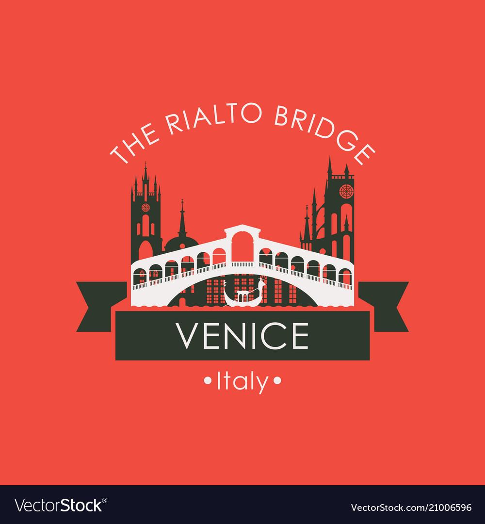 Rialto bridge logo venice architectural landmark