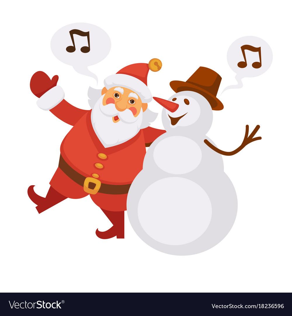 Christmas Singing Images.Santa And Snowman Singing Christmas Song Cartoon