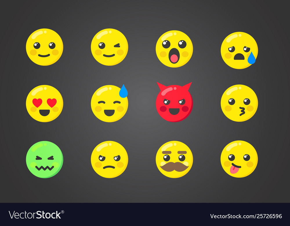 Set emoticons with interesting expressions