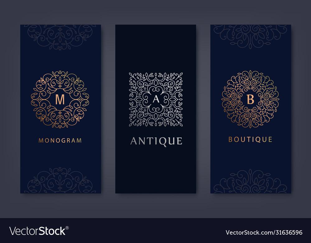 Set logo design templates brochures