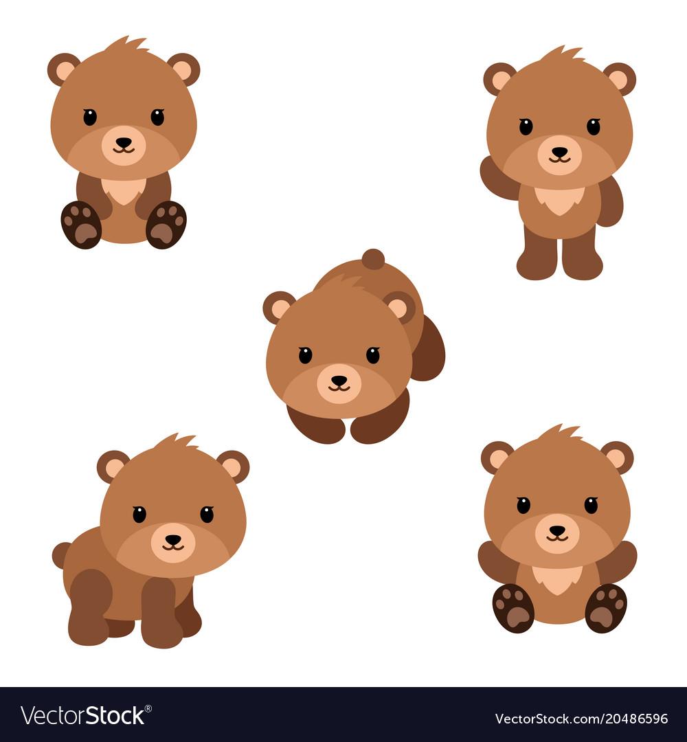 Set of cute cartoon bears in modern simple flat Vector Image