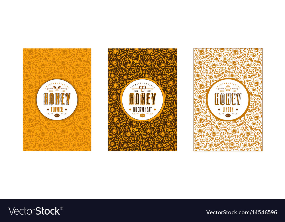 Set of seamless pattern and labels for honey