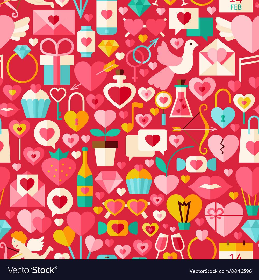 Valentine day red flat design seamless pattern
