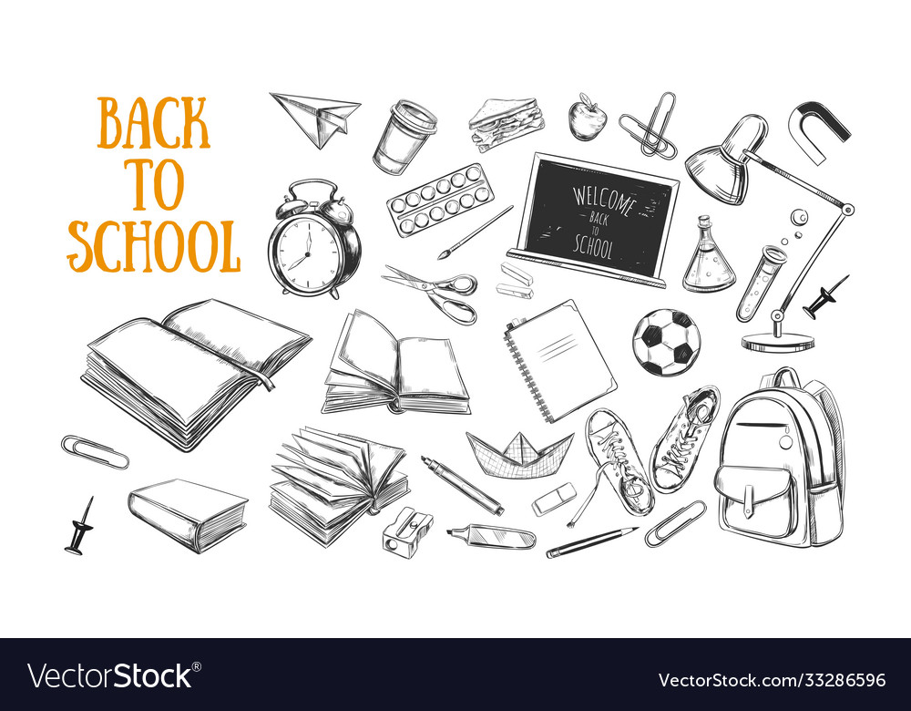 Welcome back to school collection hand