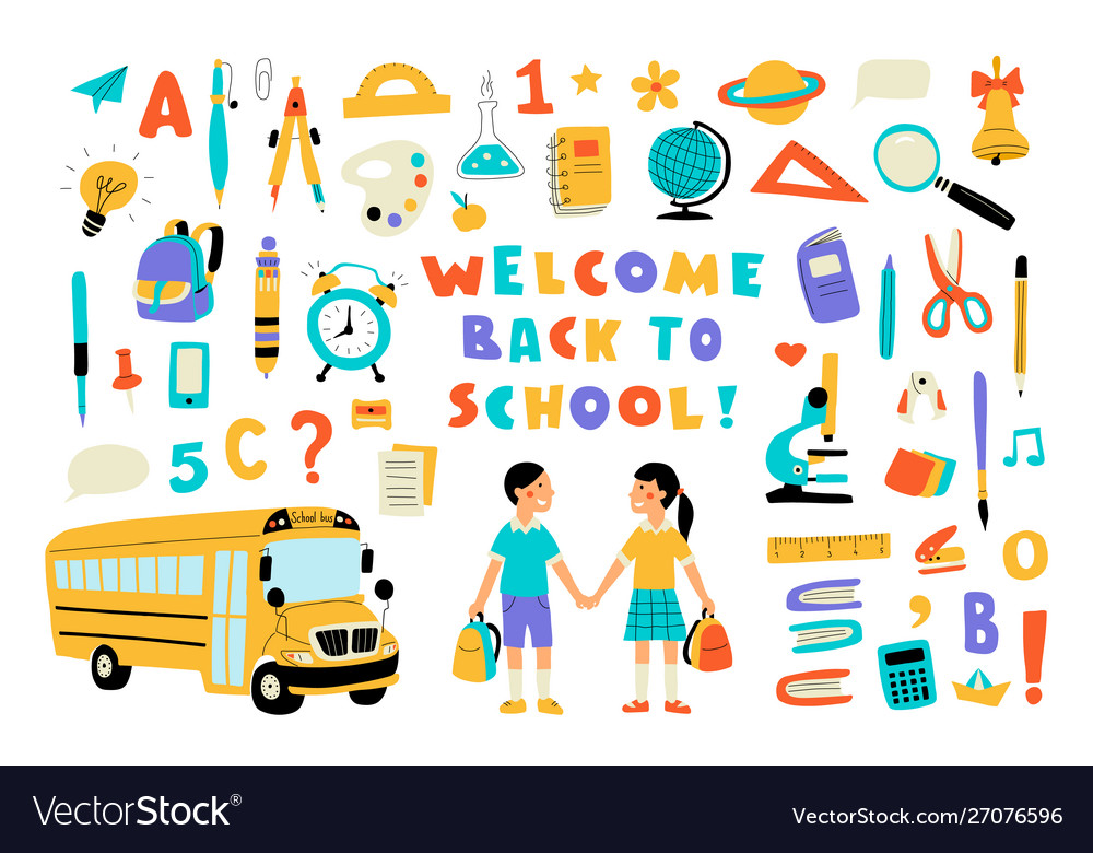 Welcome back to school cute doodle colorful set