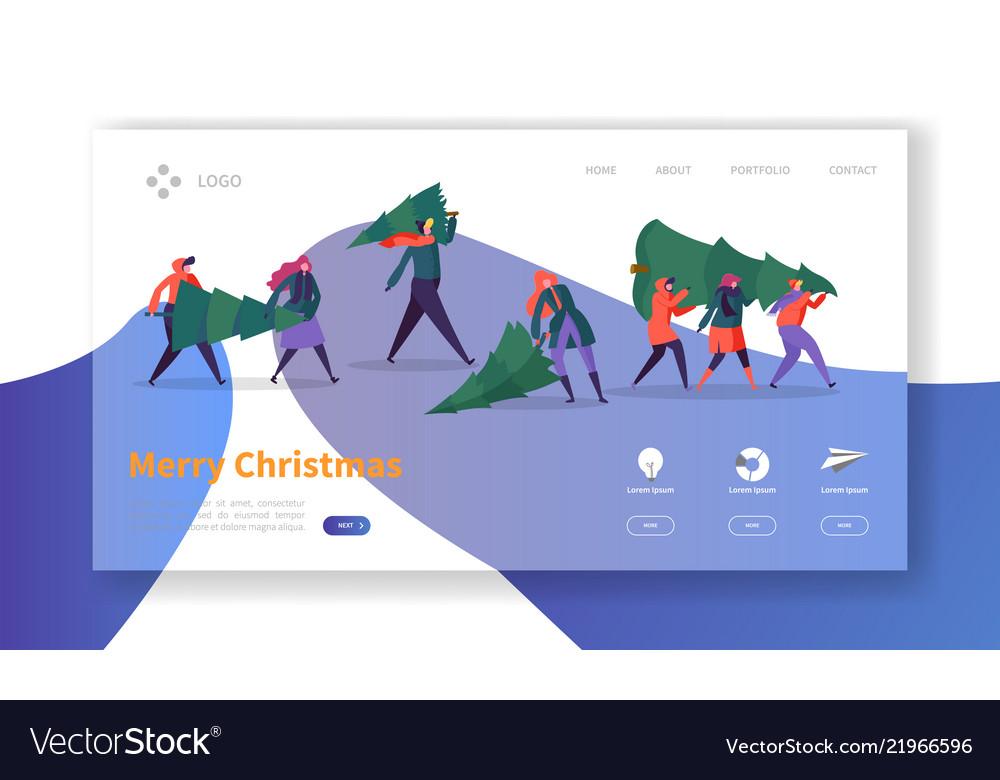Winter holidays landing page template christmas