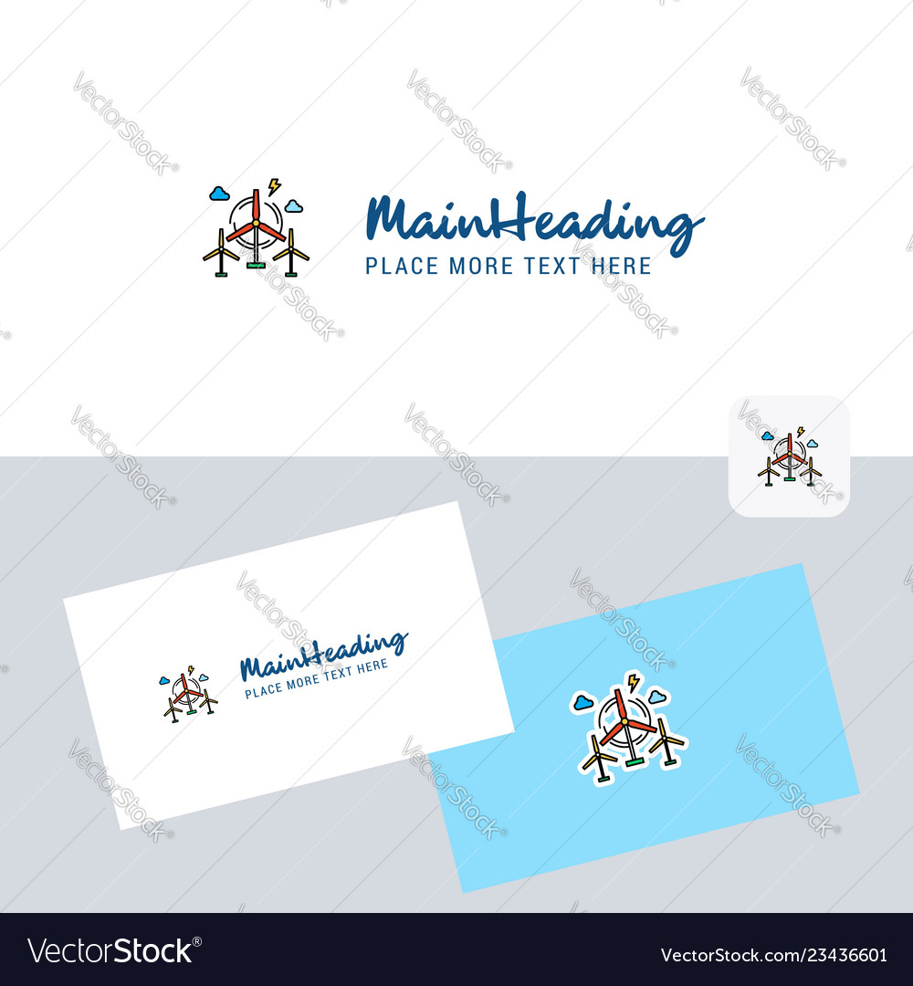 Air turbine logotype with business card template
