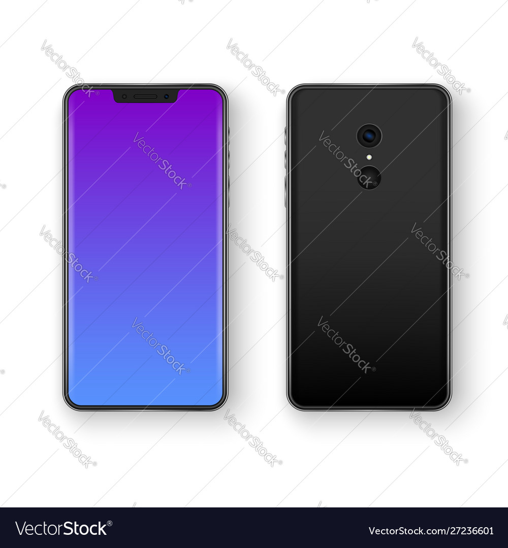 Back and front smartphone view realistic mobile