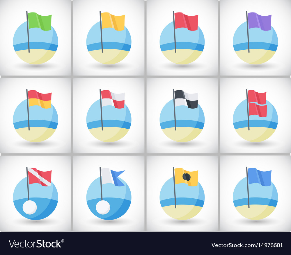 Beach warning flags icons flat set