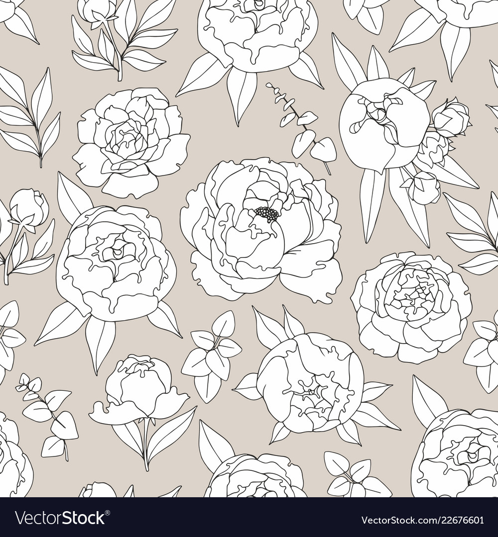 Delicate decorative seamless pattern with peonies
