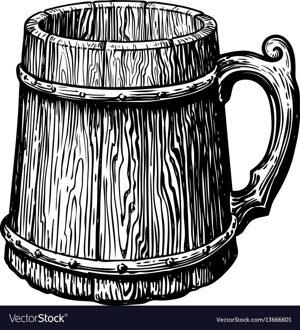 Hand-drawn vintage empty wood mug sketch