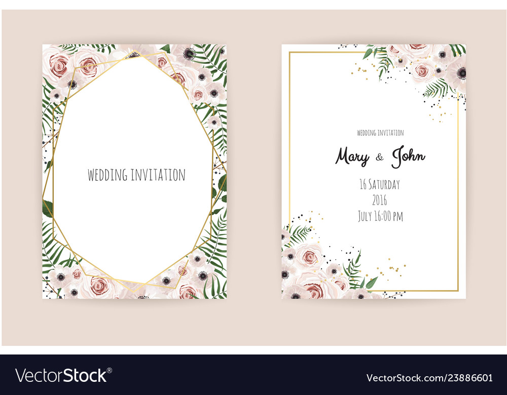 Invitation with handmade floral elements