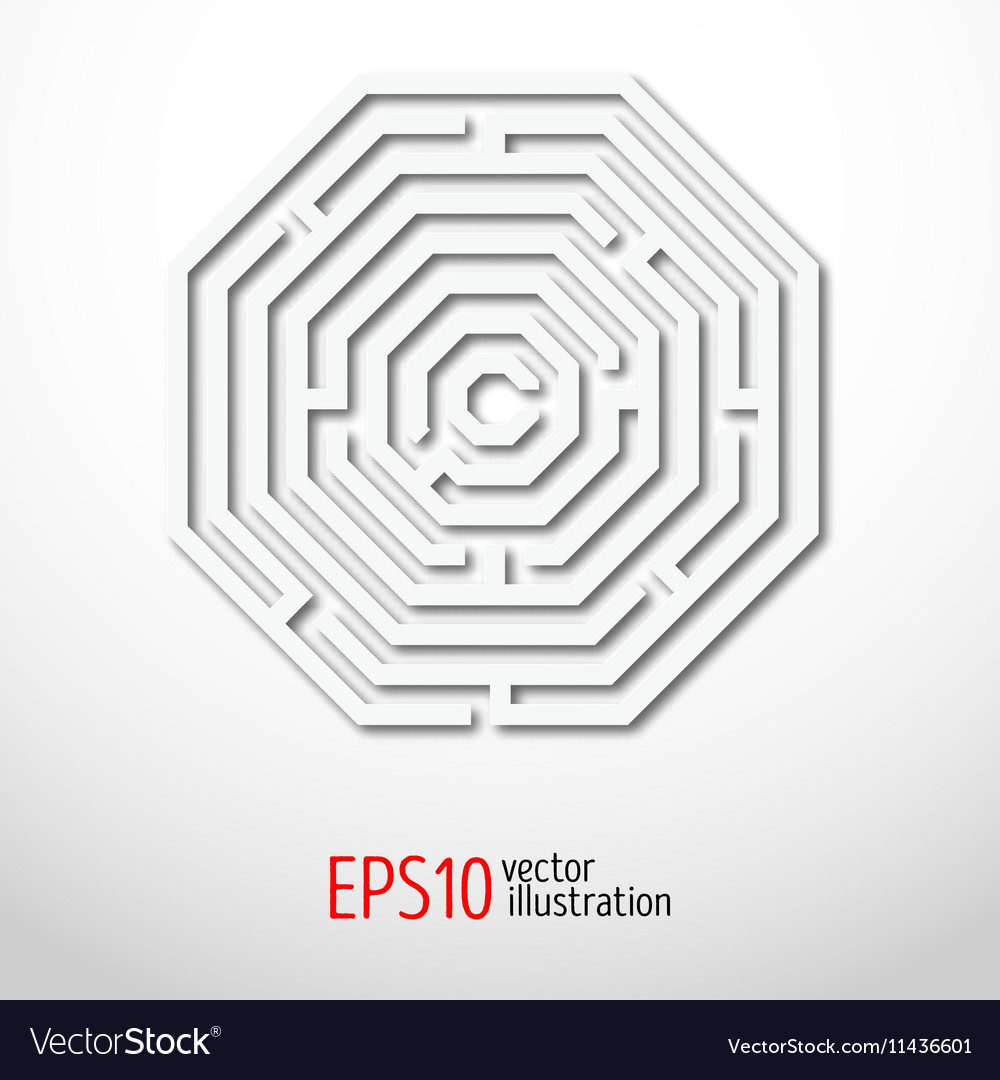 Labyrinth octagon abstract vector image