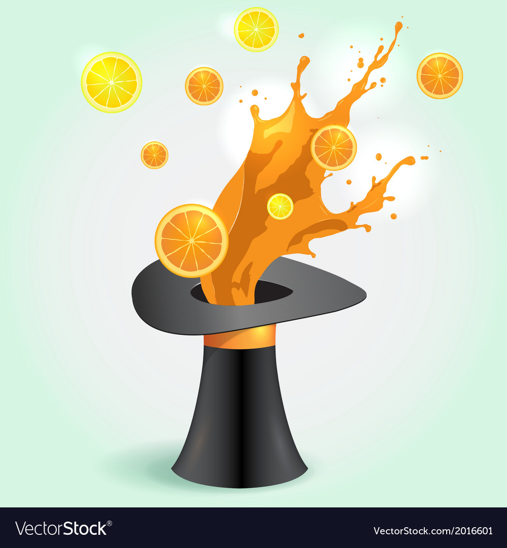 Magic hat whith orange Juice Splash vector image