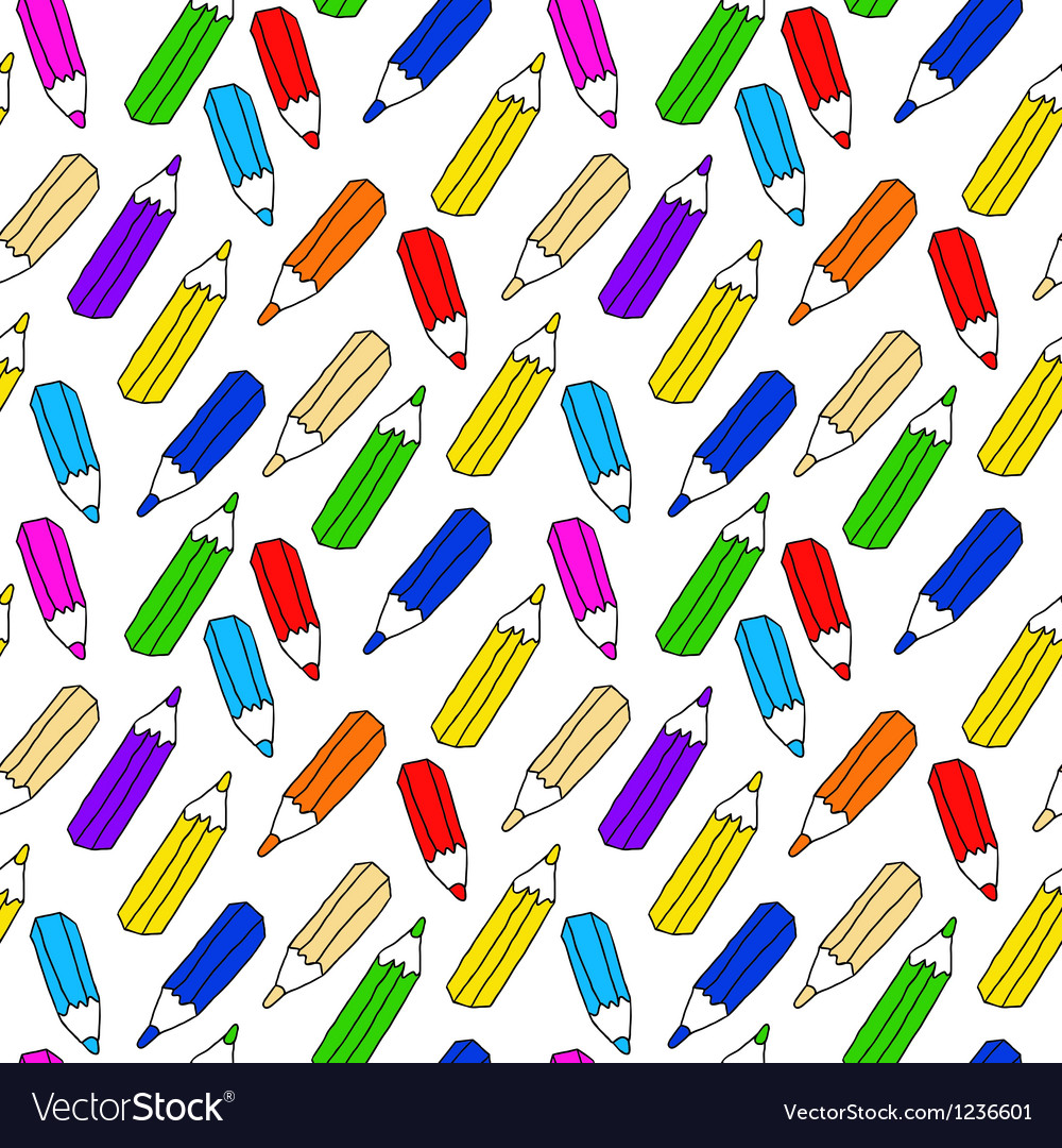 Seamless pattern of many colored pencils
