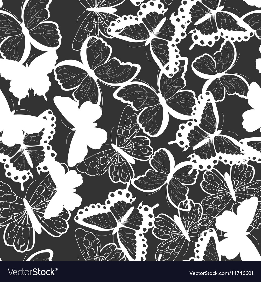 Seamless pattern with silhouette butterflies
