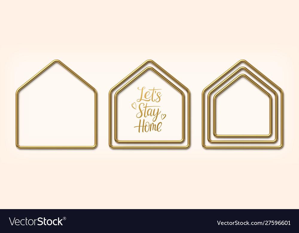 Set golden frames in shape houses