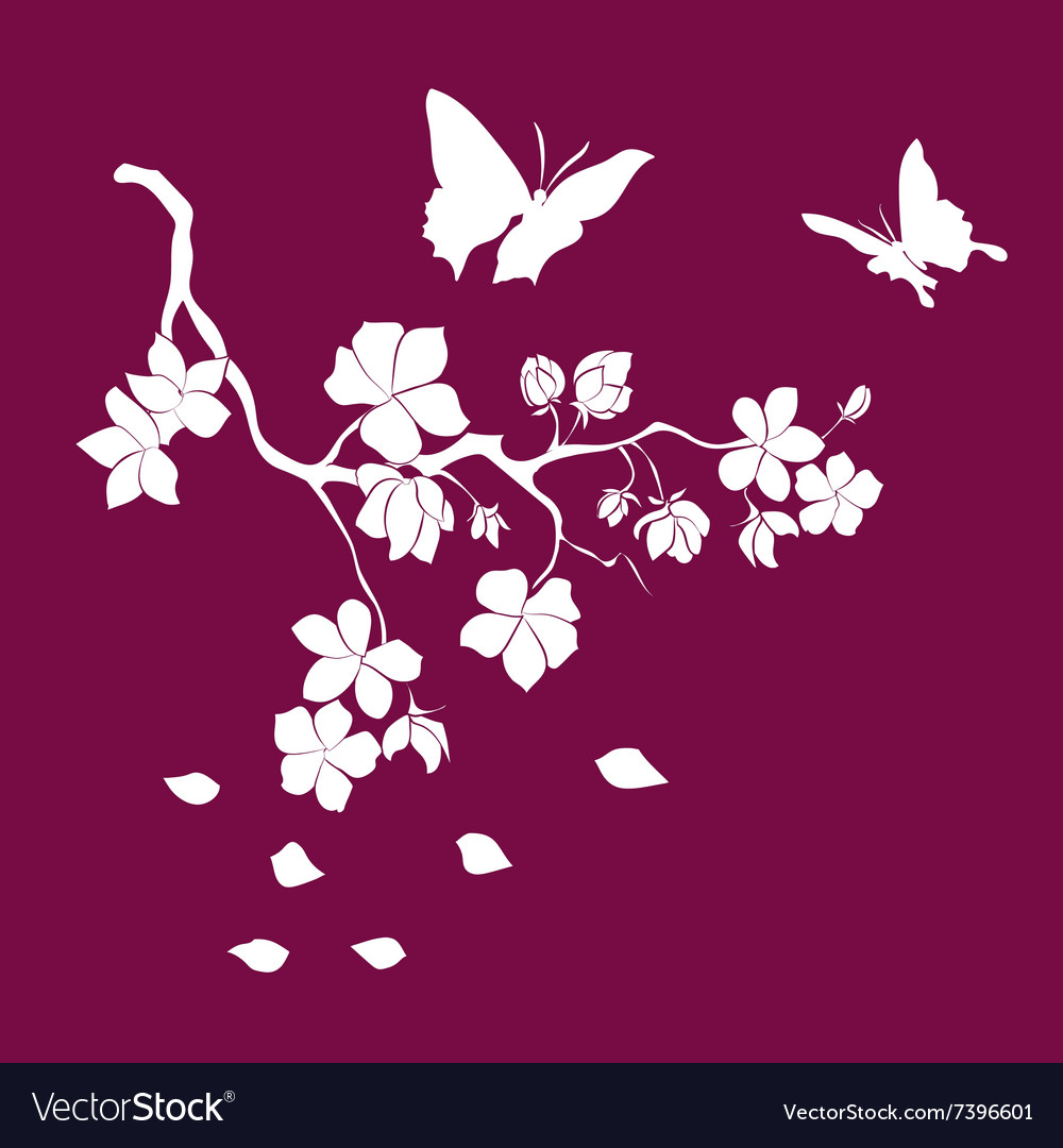 75bfa8bb0 Silhouette twig cherry blossoms Royalty Free Vector Image