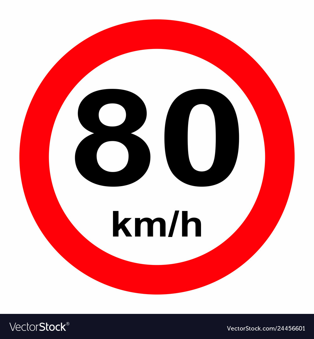 Speed limit traffic sign 80