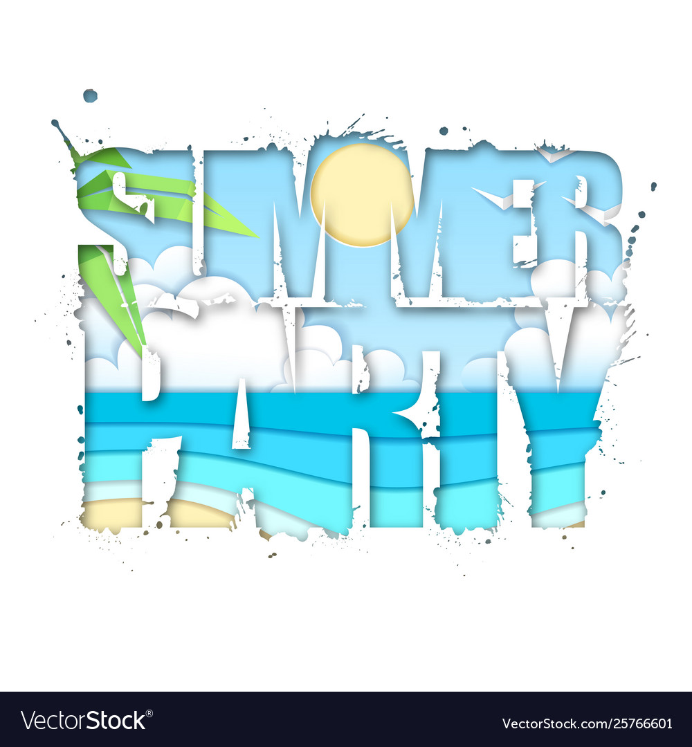 Summer party typography poster with beach